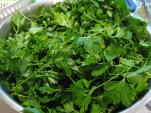 A large bowl of parsley leaves.