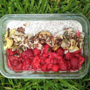 A grain free bright line eating breakfast chia pudding with berries and nuts
